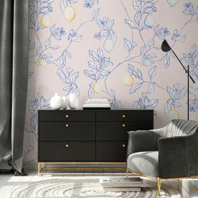 printed wallpaper with lemon illustration, individual prints for interiors