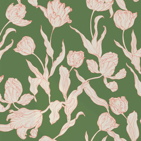 printed designer wallpaper with tulip illustration in colors coral and moss green, individual prints for interiors
