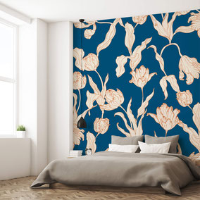 MADEMOISELLE CAMILLE, individual design wallpaper design tapete papier peint botanical wallpaper