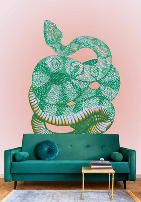printed designer wallmural with hsnake illustration vintage style in shades of green on a shimmering pale rose ground individual prints for interiors by MADEMOISELLE CAMILLE
