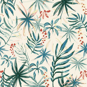 printed designer wallpaper with small aquarell drawn leaves / papier peint / MADEMOISELLE CAMILLE / Druck Tapete / Print Tapete