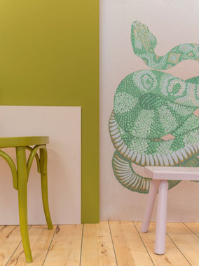 wallmural hand painted snake MADEMOISELLE CAMILLE
