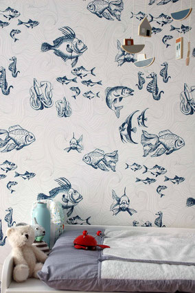designer fish wallpaper, custom wallpaper, kids room decoration, individual interior design