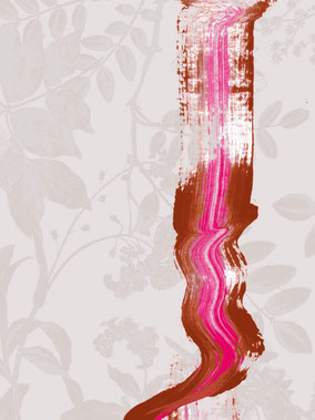 printed designer wallpaper with subtile leave pattern in beige tones and expressive brush stroke in eclectic pink and cinnamon brown individual prints for interiors by MADEMOISELLE CAMILLE