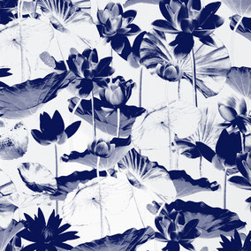 Designer wallpaper lotusflower, special interiors, lotusflower, asia style, white and blue