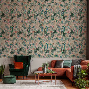 small scaled leaves design wallpaper - plantlover / Interior ideas with wallpaper / eclectic home / Mademoiselle Camille