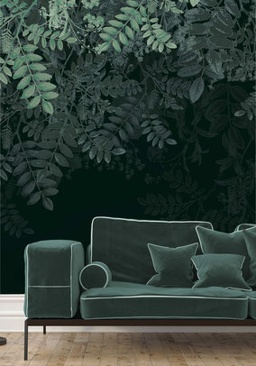 printed designer wallmural falling leave print in green shades individual prints for interiors by MADEMOISELLE CAMILLE