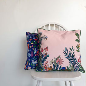 printed cushion with details from tulip illustration, in trendcolors blue and coral