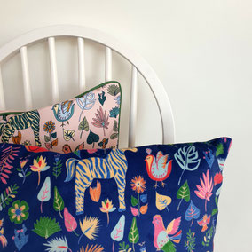 Cushion for kids, with naive jungle illustrations in vibrant colors, made by mademoiselle Camille, prints for homes and walls