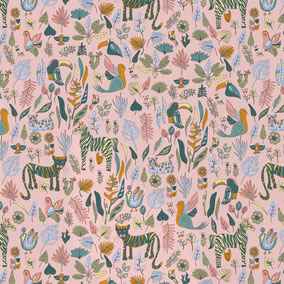 jungle animals and plants printed on a light rose ground, wallpaper for kids, patterns for kids