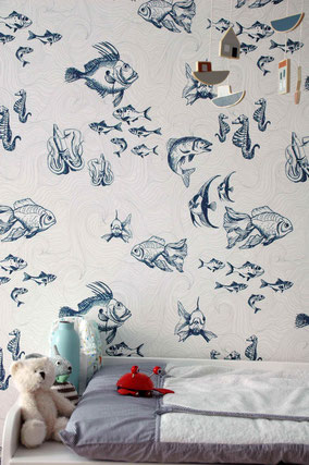 Designer wallpaper with fishes, Wallpaper for bathrooms, fishes and waves