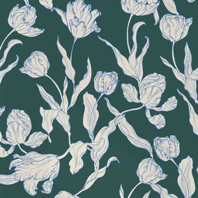 printed wallpaper with tulip illustration in colors eclectic blue and deep sea green, individual prints for interiors