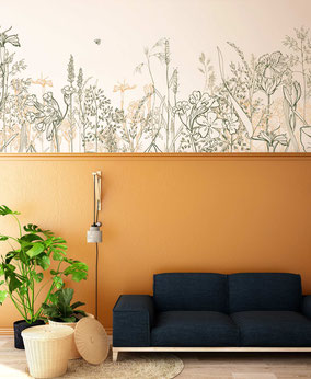 Boarder Design, botancial walldesign , wallpaper, flower wall paper