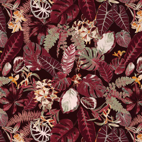 red leaves, jungle pattern, exotic design