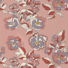 designer wallpaper with flowers, simple flowers, illustrative flowers, custommade wallpaper