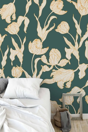 Mademoiselle Camille s new pattern for Spring 2018, Tulips in vibrant trendy colors for textiles and wallpapers
