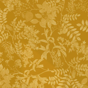 copper engraved leaves in mustard shades, exclusive and individual design for interiors