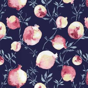 exotic fruits in aquarell optic printed on wallpaper, for your exclusive, modern and individual interior