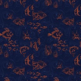 Fish wallpaper, fish illustration, illustrative fishes on wallpaper