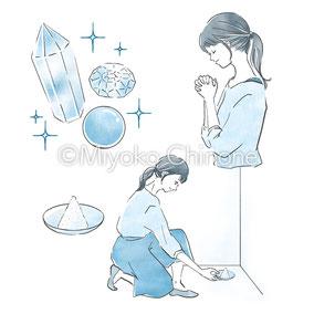 祈る女性のイラスト