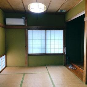 和室の聚楽壁塗り替え、畳入れ替え前の写真です。