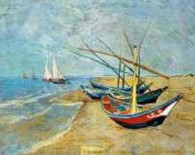 Segelboote am Strand von LesSaintes-Maries-de-la-Mer