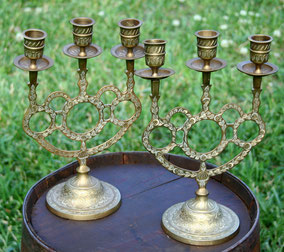 Ornate brass Candelabras
