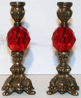 Red and Brass Candle Holders