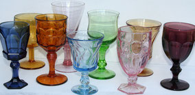 Mismatched Color Stemware