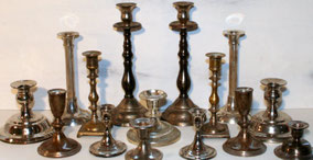 Mismatched tarnished Silver Candlesticks