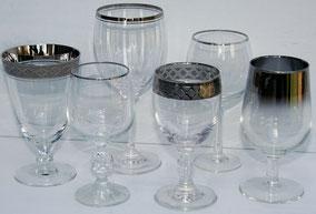 Mismatched silver rimmed stemware