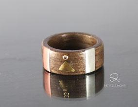 Holzring,Kupfer, Gold, Silber, Diamant
