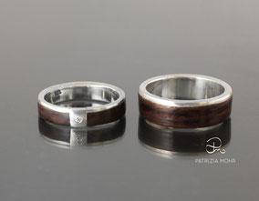 Holzringe -Eheringe Palisander Holz Stripe, Silber, Diamant