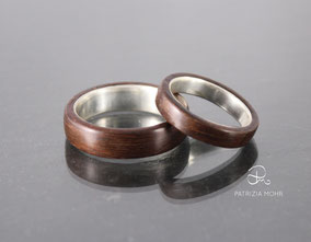 Holzringe, Eheringe aus Silber und Palisander