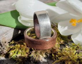 Eheringe Silber, Nussbaum Holz, Holzringe, Trauringe, Patrizia Mohr