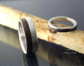 Eheringe, Holzringe, Hochzeitsringe, Holz, Silber