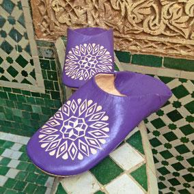 Marokkanische bunte Hausschuhe aus Leder für Damen