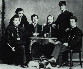 Die Gründungsmitglieder mit dem ersten neuen Mitglied am ersten Stiftungsfest der Hercynia am 19.April 1867