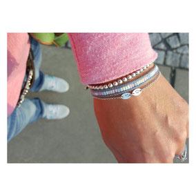 Andressa auf Instagram - Initialarmband Silberkugelarmband