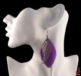 Boucles d'oreilles plumes violettes et ailes argentées