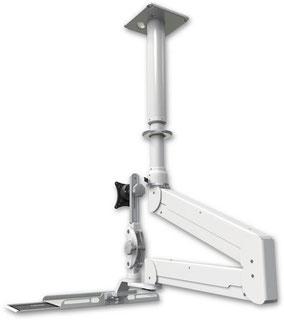 ICWUSA ELP6220シリーズ 天井固定 天吊り 昇降式 ダブル ロングアーム ディスプレイキーボード用アーム ロングアーム  VESAマウント ガススプリング