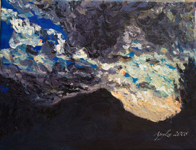 Storm over Ste Victoire, 35/27cm oil on canvas