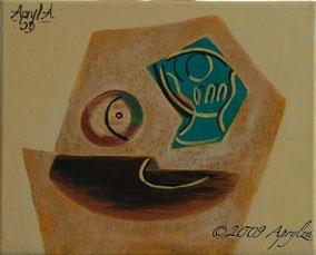 après Picasso, verre & pomme, 27/22cm oil on canvas