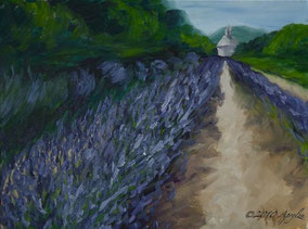 Rows of lavender at the Sénanque Abbey, 40/30cm oil on canvas