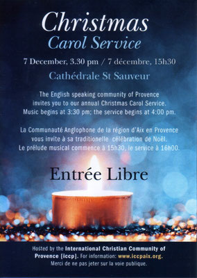Organized by ICCP the International Christian Community of Provence