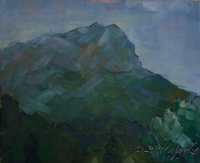 0005-Ste Victoire spring rain, 46/38cm oil on canvas