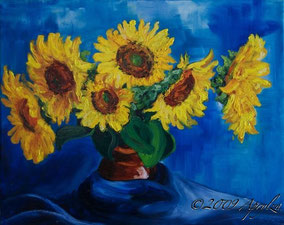 0002-Sunflower Still life in Blue, 50/40cm oil on canvas