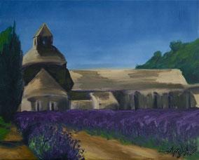 l'Abbaye de Sénanque dans le lavande, 40/30cm oil on canvas