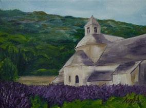 l'Abbaye de Sénanque avec du lavande, 40/30cm oil on canvas