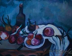 après Cézanne, nature morte des onions, 65/50cm oil on papier huile